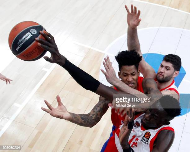 Will Clyburn #21 of CSKA Moscow competes with Ilimane Diop #12 of Baskonia Vitoria Gasteiz in action during the 2017/2018 Turkish Airlines EuroLeague...
