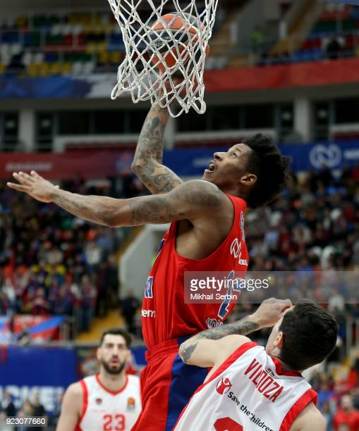 Will Clyburn #21 of CSKA Moscow competes with Luca Vildoza #3 of Baskonia Vitoria Gasteiz in action during the 2017/2018 Turkish Airlines EuroLeague...