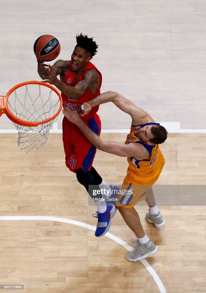 Will Clyburn, #21 of CSKA Moscow competes with Sergey Monia, #12 of Khimki Moscow Region in action during the Turkish Airlines Euroleague Play Offs Game 4 between Khimki Moscow Region v CSKA Moscow at Arena Mytishchi on April 27, 2018 in Moscow, Russia.