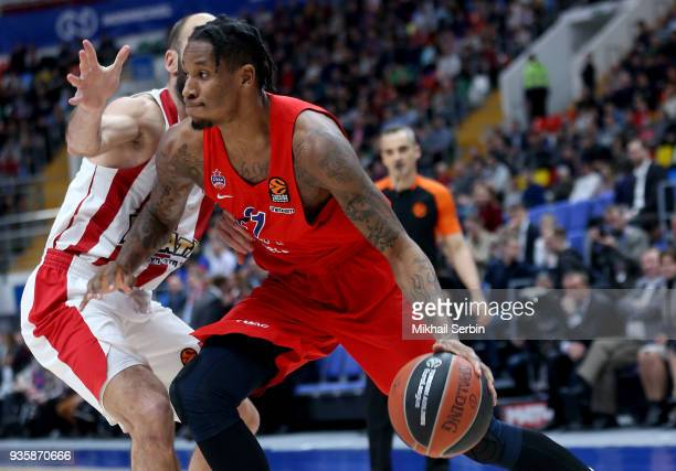 Will Clyburn #21 of CSKA Moscow competes with Vassilis Spanoulis #7 of Olympiacos Piraeus in action during the 2017/2018 Turkish Airlines EuroLeague...