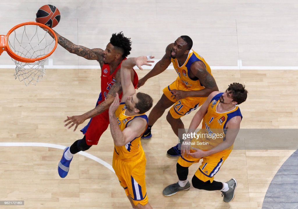 Will Clyburn, #21 of CSKA Moscow in action during the Turkish Airlines Euroleague Play Offs Game 4 between Khimki Moscow Region v CSKA Moscow at Arena Mytishchi on April 27, 2018 in Moscow, Russia.