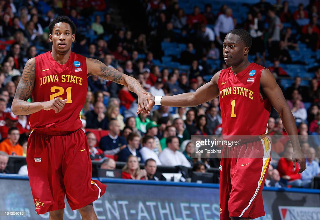 Will Clyburn #21 and Bubu Palo #1 of the Iowa State Cyclones react after a play in the second half against the Notre Dame Fighting Irish during the second round of the 2013 NCAA Men's Basketball Tournament at UD Arena on March 22, 2013 in Dayton, Ohio.