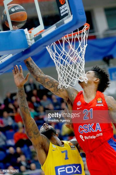 Will Clyburn of CSKA Moscow vies with DeAndre Kane of Maccabi Fox during the Turkish Airlines Euroleague match between CSKA Moscow and Maccabi Fox at...