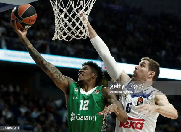 Will Clyburn of Darussafaka Dogus in action against Andres Nocioni of Real Madrid during the Turkish Airlines Euroleague basketball match between...