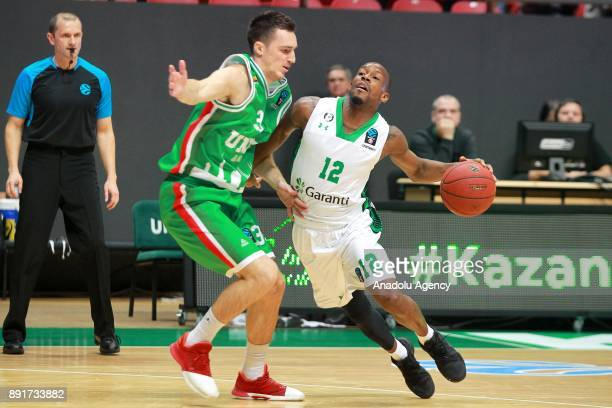Will Clyburn of Darussafaka Dogus in action against Danilo Andjusic of UNICS Kazan during the EuroCup basketball match between UNICS Kazan and...