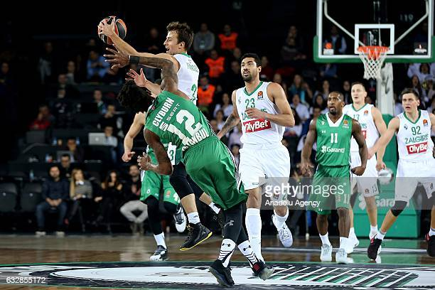 Will Clyburn of Darussafaka Dogus in action against Kevin Pangos of Zalgiris Kaunas during the Turkish Airlines Euroleague basketball match between...
