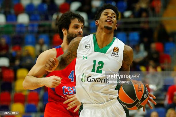 Will Clyburn of Darussafaka Dogus in action against Milos Teodosic of CSKA Moscow during the Turkish Airlines Euroleague basketball match between...