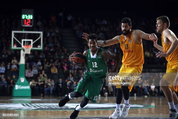 Will Clyburn of Darussafaka Dogus in action against Vitor Faverani of Barcelona Lassa during Turkish Airlines Euroleague match between Darussafaka...