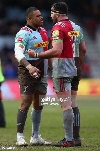 Will Collier and Kyle Sinckler Harlequins during the Aviva Premiership match between Harlequins and Bath Rugby at Twickenham Stoop on March 4 2018 in...