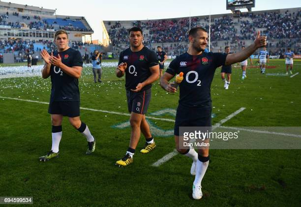 Will Collier of England Ellis Genge of England and Danny Care of England wave to the fans after the International Test match between Argentina and...