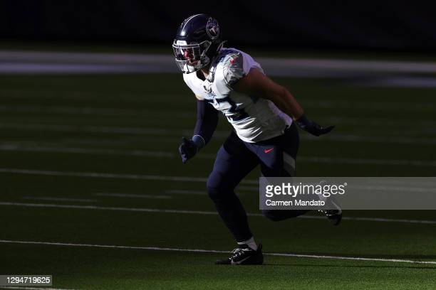Will Compton of the Tennessee Titans in action against the Houston Texans during a game at NRG Stadium on January 03, 2021 in Houston, Texas.