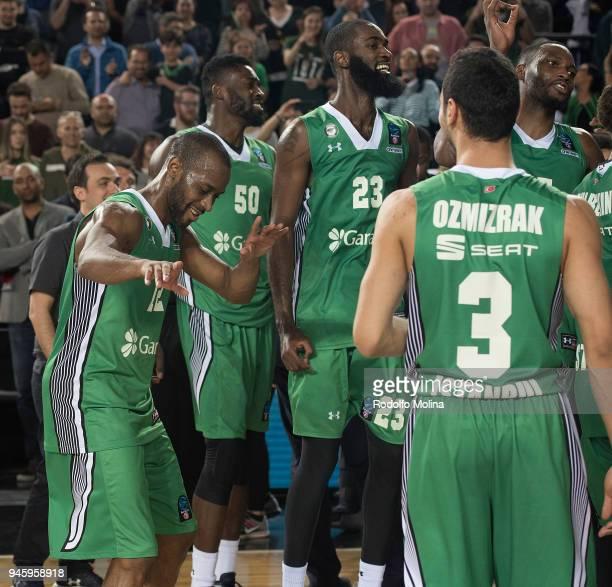 Will Cummings #12 of Darussafaka Istanbul celebrates after the 7DAYS EuroCup Basketball Finals game two between Darussafaka Istanbul v Lokomotiv...