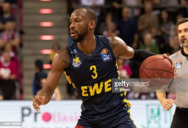 Will Cummings of EWE Baskets Oldenburg controls the ball during the Basketball Bundesliga match between Telekom Baskets Bonn and EWE Baskets...