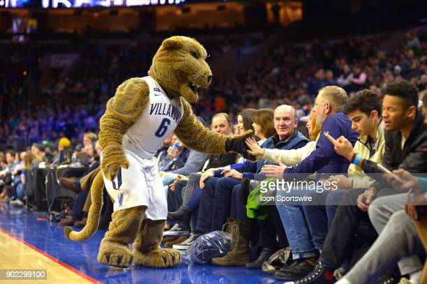 Will D Cat greets the crowd during the basketball game between the Marquette Golden Eagles and the Villanova Wildcats on January 06 2018 at the Wells...