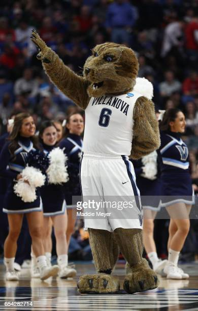 Will D Cat mascot for the Villanova Wildcats peforms as they take on the Mount St Mary's Mountaineers in the second half during the first round of...