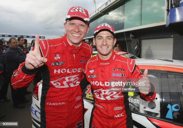 Will Davison and Garth Tander of the Holden Racing Team celebrate after winning race 17 for round nine of the V8 Supercar Championship Series at the...