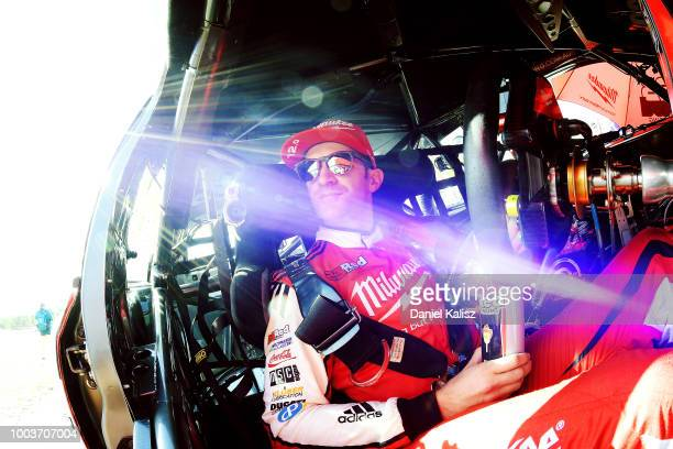 Will Davison driver of the Milwaukee Racing Ford Falcon FGX looks on prior to race 20 of the Supercars Ipswich SuperSprint on July 22 2018 in...