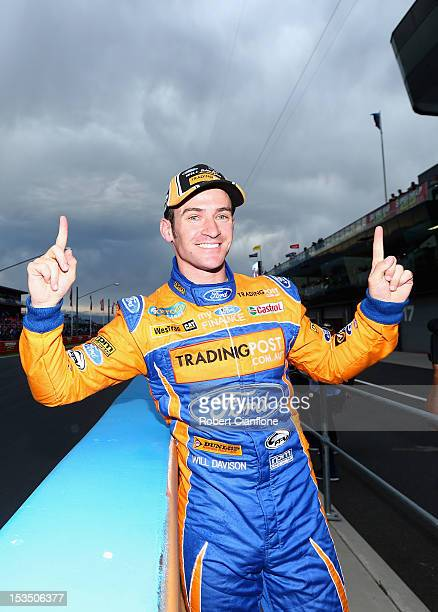Will Davison driver of the Tradingpost FPR Ford celebrates after taking pole position in the Top 10 shootout for the Bathurst 1000 which is round 11...
