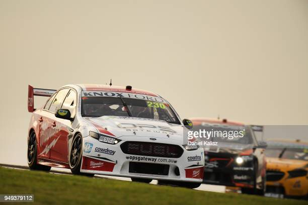 Will Davison drives the Milwaukee Racing Ford Falcon FGX during the Supercars Phillip Island 500 at Phillip Island Grand Prix Circuit on April 21...