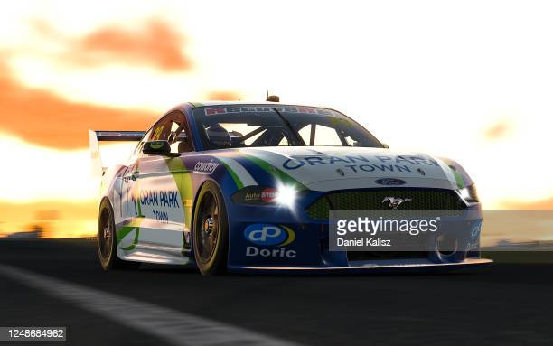 Will Davison drives the Oran Park Town Ford Mustang during practice for round 10 of the Supercars All Stars Eseries at Oran Park Raceway on June 10,...