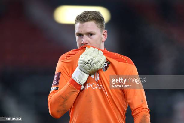 Will Dennis of AFC Bournemouth looks on during the FA Cup Third Round match between Oldham Athletic and AFC Bournemouth at Vitality Stadium on...