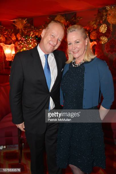 Will Denton and Sara Dodd attend George Farias Anne Jay McInerney Host A Holiday Party at The Doubles Club on December 13 2018 in New York City