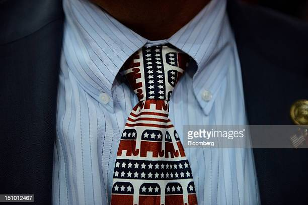 Will Deschamps state chairman of Montana wears a tie decorated with elephant mascots at the Republican National Convention in Tampa Florida US on...