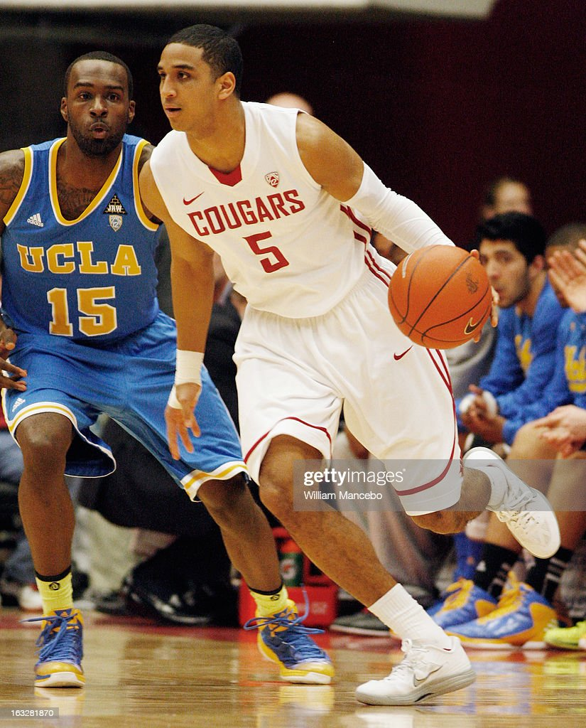 Will Diiorio #5 of the Washington State Cougars moves the ball against Shabazz Muhammad #15 of the UCLA Bruins during the game at Beasley Coliseum on March 6, 2013 in Pullman, Washington.
