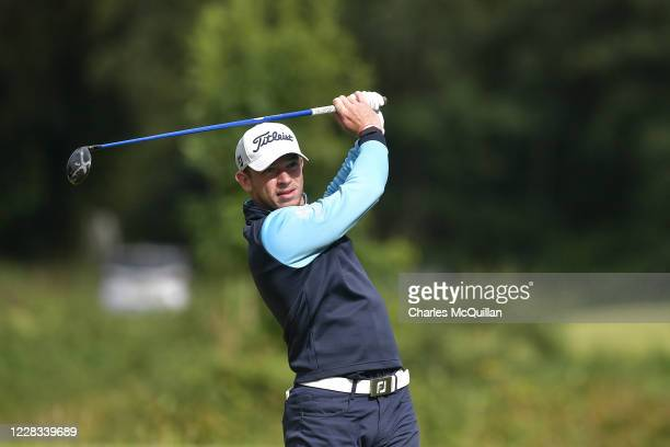 Will Enefer hits his drive off the 8th tee during day two of the Northern Ireland Open at Galgorm Spa & Golf Resort on September 4, 2020 in...