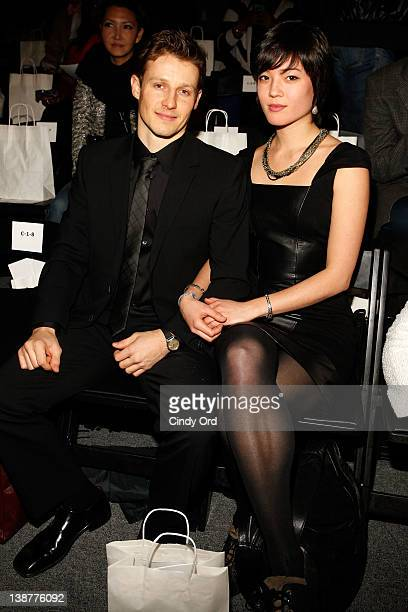 Will Estes and Mia Kang attend the Venexiana Fall 2012 fashion show during MercedesBenz Fashion Week at The Studio at Lincoln Center on February 11...