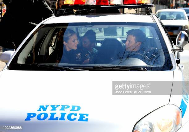 Will Estes and Vanessa Ray are seen on the set of 'Blue Bloods' on February 21 2020 in New York City
