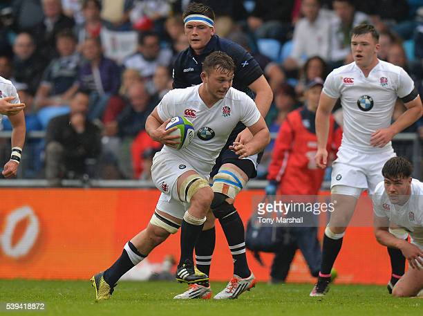 Will Evans of England makes a break during the World Rugby U20 Championship match between England and Scotland at The Academy Stadium on June 11 2016...