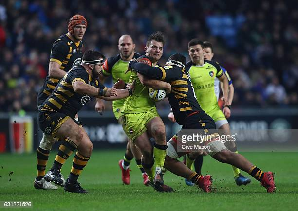Will Evans of Leicester in action during the Aviva Premiership match between Wasps and Leicester Tigers at The Ricoh Arena on January 8 2017 in...