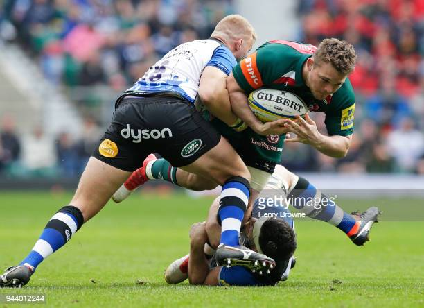 Will Evans of Leicester Tigers during the Aviva Premiership match between Bath Rugby and Leicester Tigers at Twickenham Stadium on April 7 2018 in...