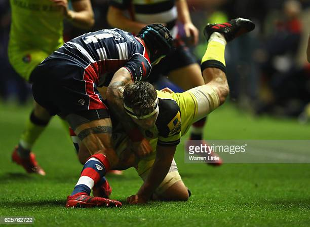 Will Evans of Leicester Tigers is tackled by Ryan Edwards of Bristol Rugby during the Aviva Premiership match between Bristol Rugby and Leicester...