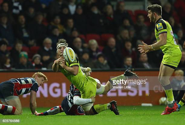 Will Evans of Leicester Tigers is tackled during the Aviva Premiership match between Bristol Rugby and Leicester Tigers at Ashton Gate on November 25...
