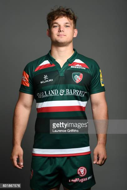 Will Evans of Leicester Tigers poses for a portrait during the squad photo call for the 20172018 Aviva Premiership Rugby season at Welford Road on...
