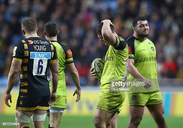 Will Evans of Leicester Tigers shows his frustration after a handling error during the Aviva Premiership match between Wasps and Leicester Tigers at...