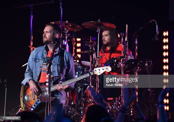 Will Farquarson and Chris Wood of Bastille perform onstage at iHeartRadio Theater on June 17 2019 in Burbank California