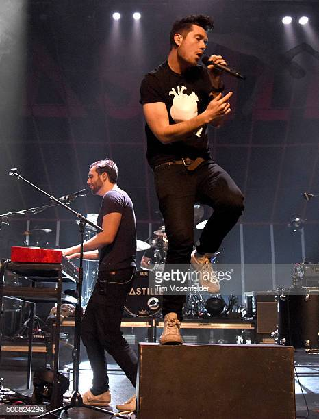 Will Farquarson and Dan Smith of Bastille perform during Radio 947's Electric Christmas at Memorial Auditorium on December 9 2015 in Sacramento...
