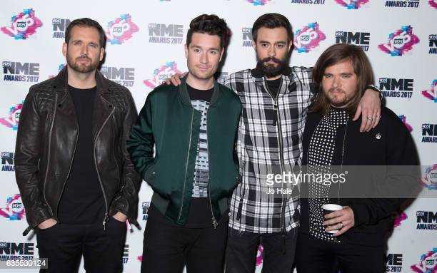 Will Farquarson Dan Smith Kyle Simmons and Chris Wood of Bastille arrive at the VO5 NME awards 2017 on February 15 2017 in London United Kingdom