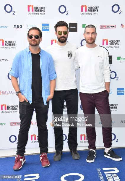 Will Farquarson Kyle Simmons and Dan Smith of Bastille attending the Nordoff Robbins O2 Silver Clef Awards 2018 held at Grosvenor House Hotel London