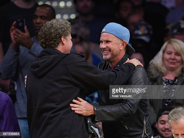 Will Ferrell and Chad Smith attend a basketball game between the Detroit Pistons and the Los Angeles Lakers at Staples Center on November 15 2015 in...