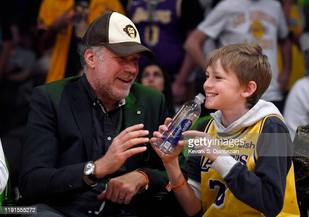 Will Ferrell and his son attend the New Orleans Pelicans and Los Angeles Lakers basketball game at Staples Center on January 3, 2020 in Los Angeles,...