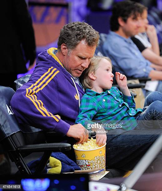 Will Ferrell and his son Axel Ferrell attend a basketball game between the Brooklyn Nets and the Los Angeles Lakers at Staples Center on February 23...