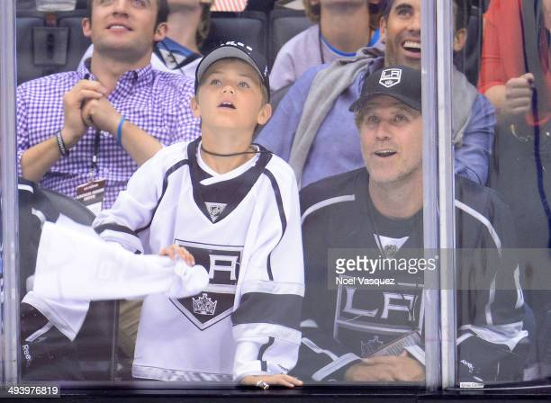 Will Ferrell and his son Mattias Ferrell attend Game Four of the Western Conference Final during the 2014 Stanley Cup Playoffs at Staples Center on...