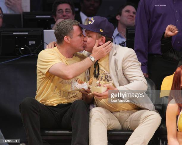 Will Ferrell and John C Reilly attend the game between the Dallas Mavericks and the Los Angeles Lakers at Staples Center on May 2 2011 in Los Angeles...