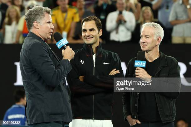Will Ferrell and John McEnroe interview Roger Federer of Switzerland after Federer won his first round match against Aljaz Bedene of Slovenia on day...