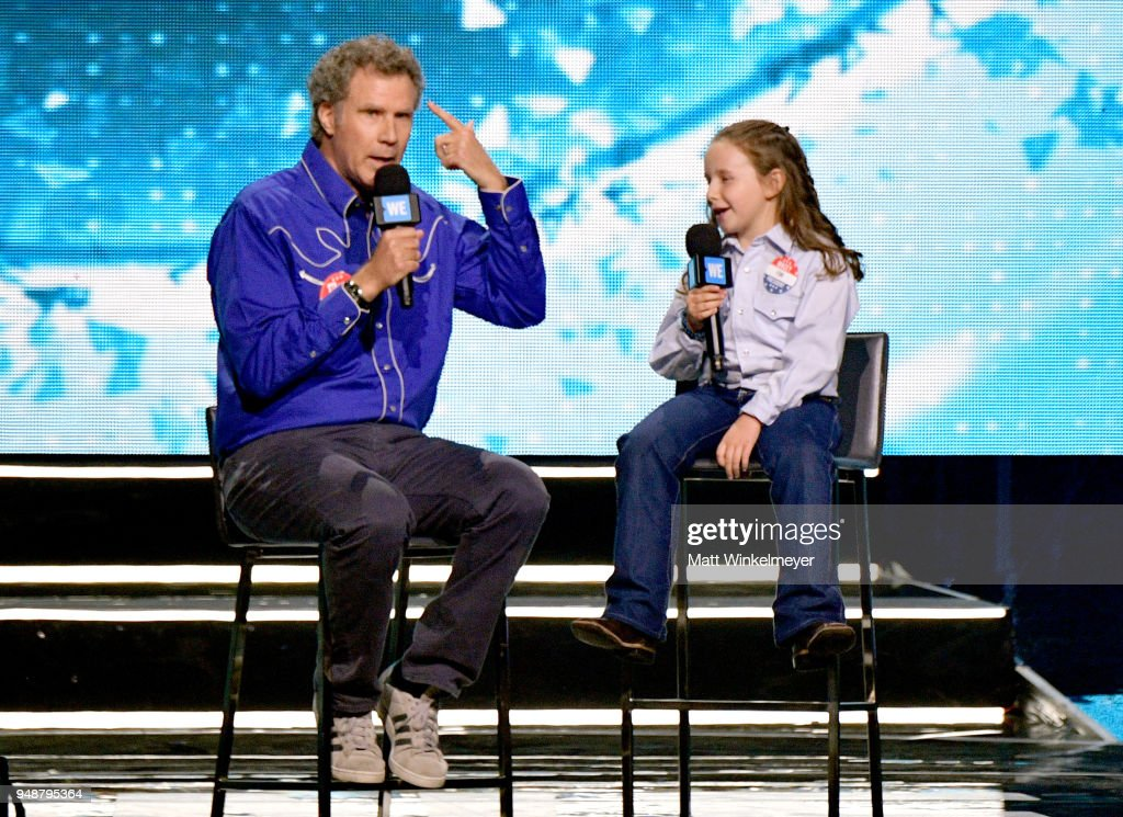 Will Ferrell (L) and Macey Hensley onstage at WE Day California at The Forum on April 19, 2018 in Inglewood, California.