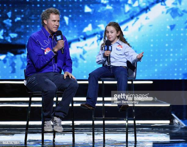 Will Ferrell and Macey Hensley speak onstage at WE Day California at The Forum on April 19 2018 in Inglewood California